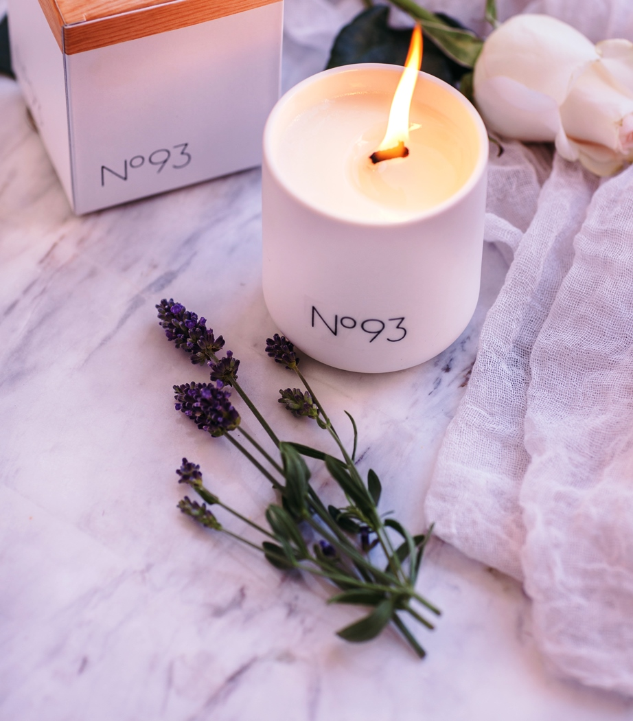 Purple candle, number 93, lavender essential oil